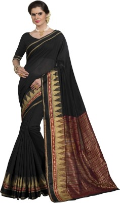 Taanshi Self Design Kanjivaram Cotton Silk Saree(Black) at flipkart