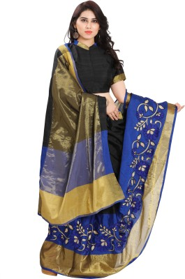 SARNGIN BOUTIQUE Solid Kanjivaram Silk Saree(Black) at flipkart