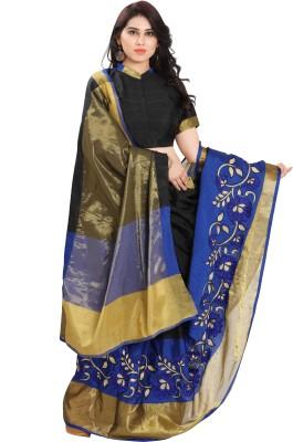 SARNGIN BOUTIQUE Solid Kanjivaram Silk Saree(Black) at flipkart