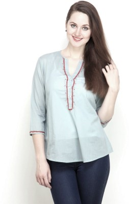 Tops and Tunics Casual 3/4th Sleeve Solid Women Grey Top at flipkart