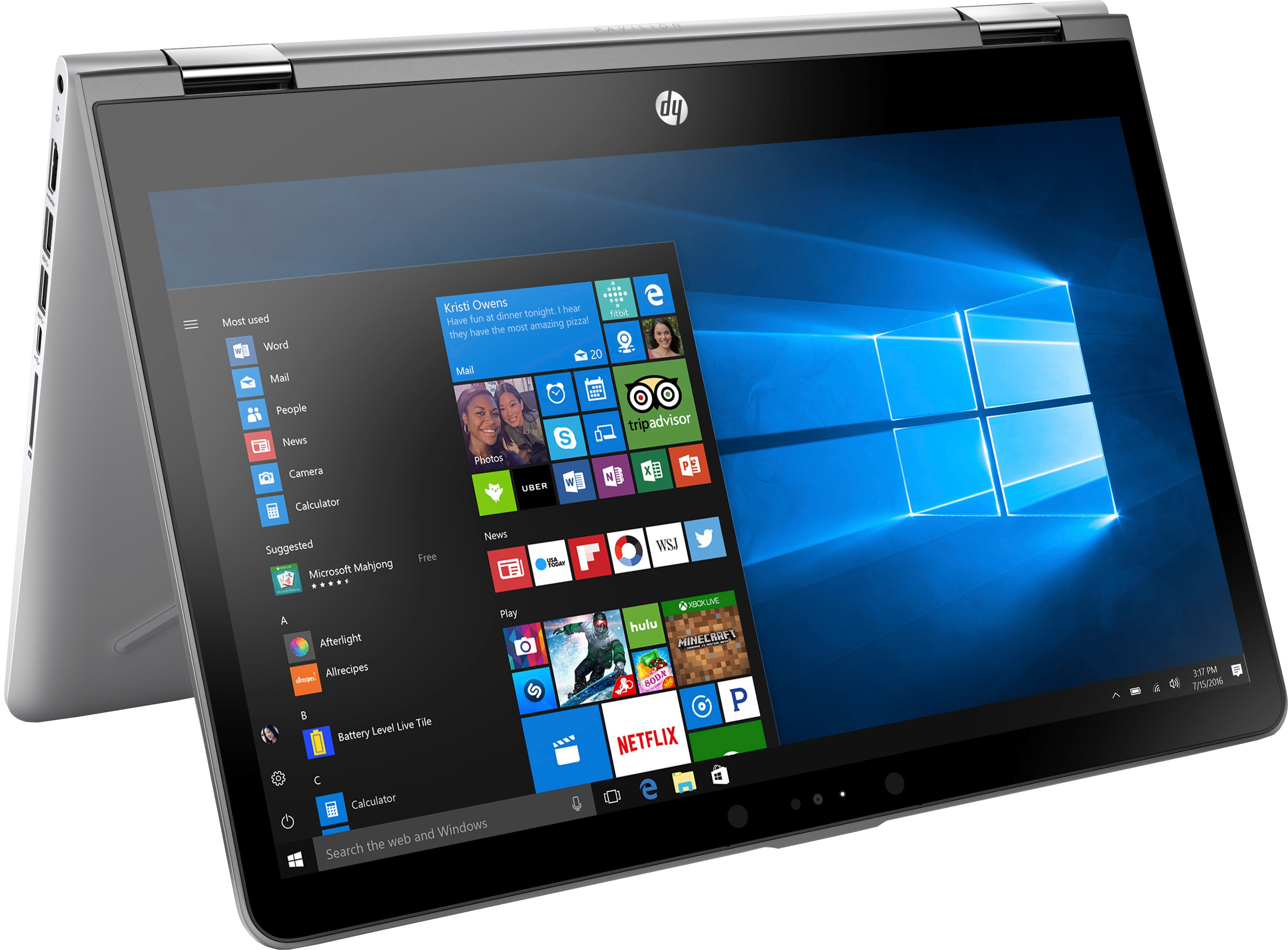 View HP x360 Core i3 7th Gen - (4 GB/1 TB HDD/8 GB SSD/Windows 10 Home/2 GB Graphics) 14��ba075TX 2 in 1 Laptop(14 inch, SIlver, 1.72 kg) Laptop
