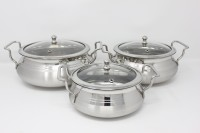 PREMIUM Stainless Steel Biryani Combo Pack (3 Pcs) with Glass Lid Cookware Set