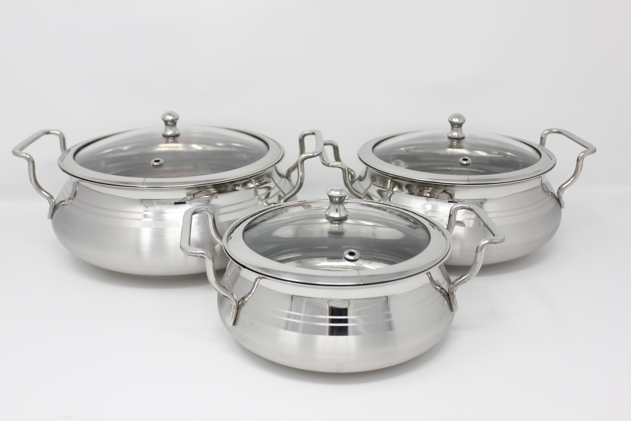 PREMIUM Stainless Steel Biryani Combo Pack (3 Pcs) with Glass Lid Cookware Set Flipkart