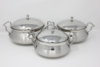 PREMIUM Stainless Steel Biryani Combo Pack (3 Pcs) with Steel Lid Cookware Set