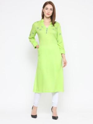 Laabha Casual Solid Women's Kurti(Green) at flipkart