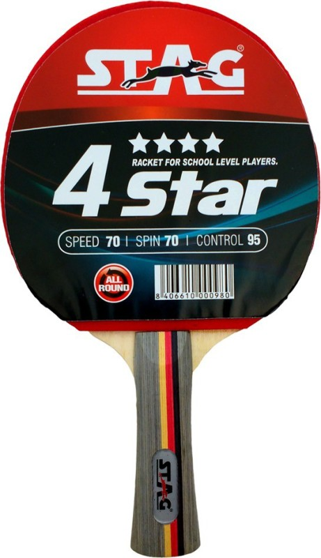 Stag 4 Star Table Tennis Racquet(Red, Black, Weight - 190...