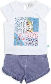 Mini Klub Girls Casual T-shirt Shorts(White)