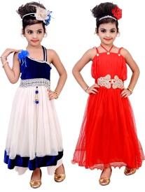 ADC WORLD Girls Maxi/Full Length Party Dress(Multicolor, Sleeveless)