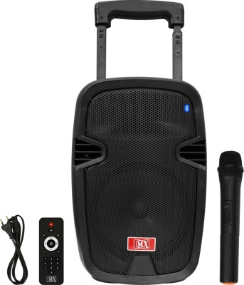 MX 8 inches Portable Multimedia Trolley Speaker With Built-in Amplifier Battery Bluetooth Usb Radio Fm Sd Card Aux Input & Wireless Microphone Remote 3708 Indoor, Outdoor PA System(60 W)