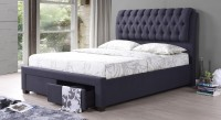 Urban Ladder Cassiope Upholstered Engineered Wood Queen Bed With Storage(Finish Color -  Charcoal Grey)