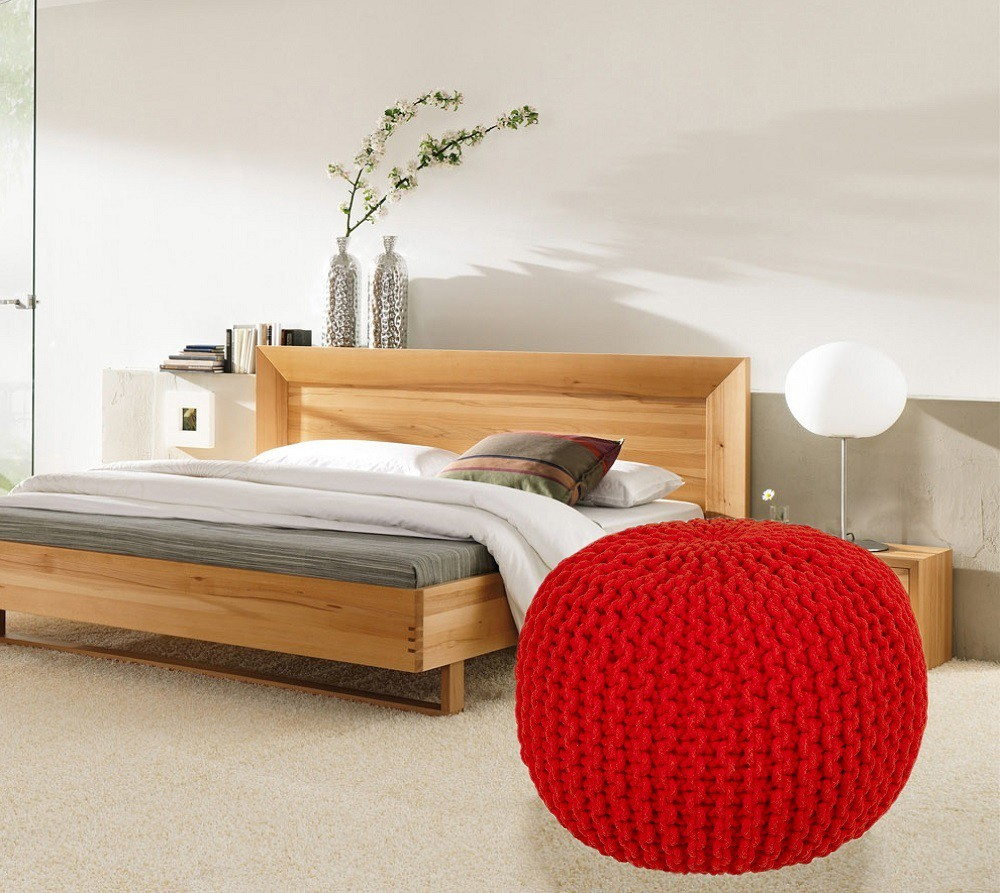 View ACASA Fabric Pouf(Finish Color - RED) Furniture (ACASA)