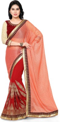 Divastri Embroidered Bollywood Synthetic Georgette Saree(Red) at flipkart