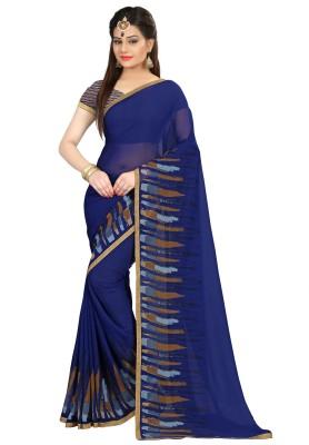 Divastri Printed Fashion Georgette Saree(Blue) at flipkart