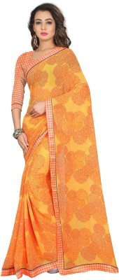 Divastri Printed Fashion Georgette Saree(Yellow) at flipkart