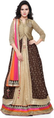 Divastri Embroidered Bollywood Faux Georgette Saree(Gold) at flipkart