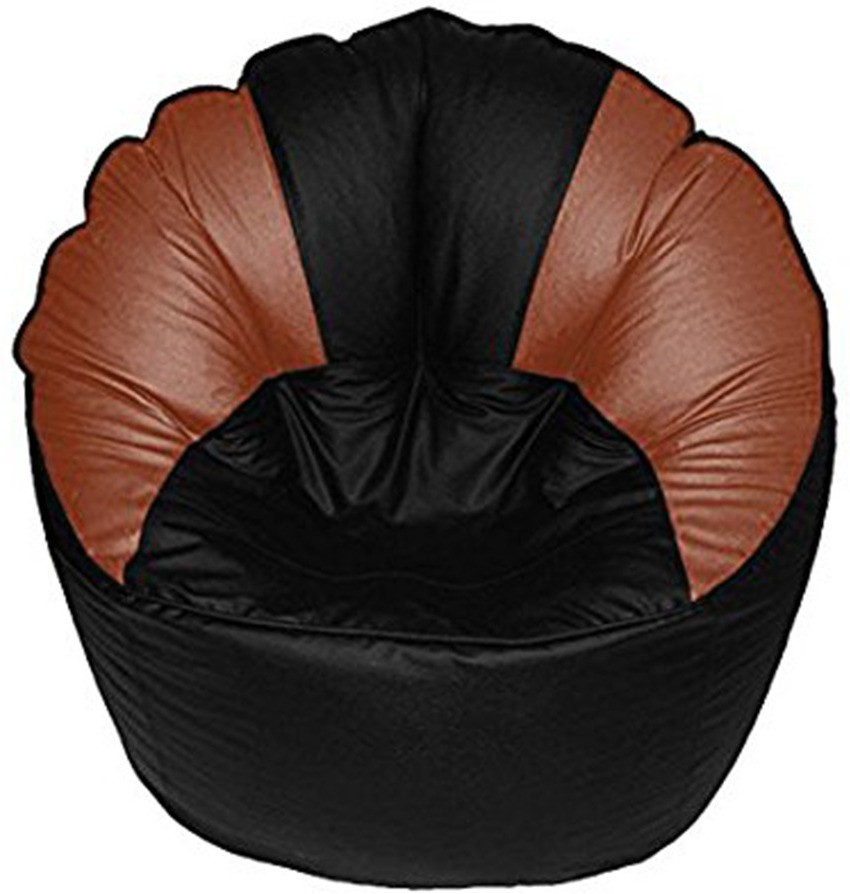 View Akhilesh Bean Bags & Furniture XXXL Bean Chair Cover(Black, Orange) Furniture (Akhilesh Bean Bags & Furniture)