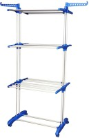 KUMAKA Premium Quality 3 layer Clothes Rack Hanger Steel Floor Cloth Dryer Stand(Blue)