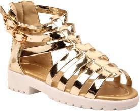 Foot Candy Girls Slip-on Gladiators(Gold)