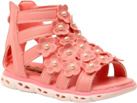 Foot Candy Girls Velcro Strappy Sandals(Pink)
