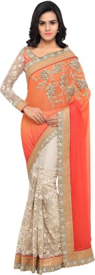 Divastri Embroidered Bollywood Faux Georgette Saree(Beige) at flipkart