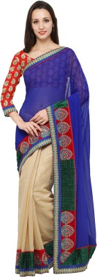 Divastri Embellished Fashion Faux Georgette Saree(Beige) at flipkart