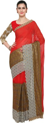 Divastri Embroidered Bollywood Faux Georgette Saree(Red) at flipkart