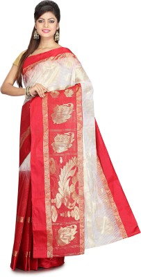 Subhadra Woven Kanjivaram Handloom Matka Silk Saree(Red, White) at flipkart