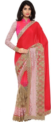 Divastri Embroidered Bollywood Faux Georgette Saree(Pink) at flipkart