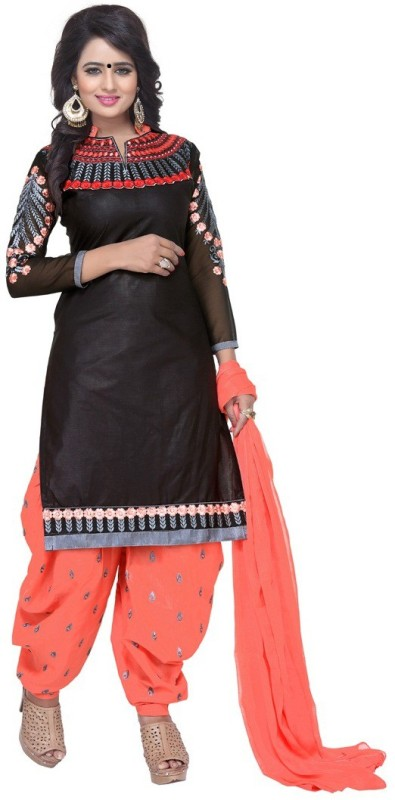 Regalia Ethnic Cotton Embroidered Suit Fabric(Un-stitched)