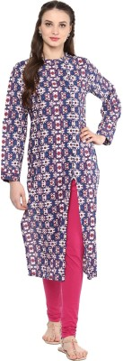 Jaipur Kurti Printed Women's Straight Kurta(Blue) at flipkart