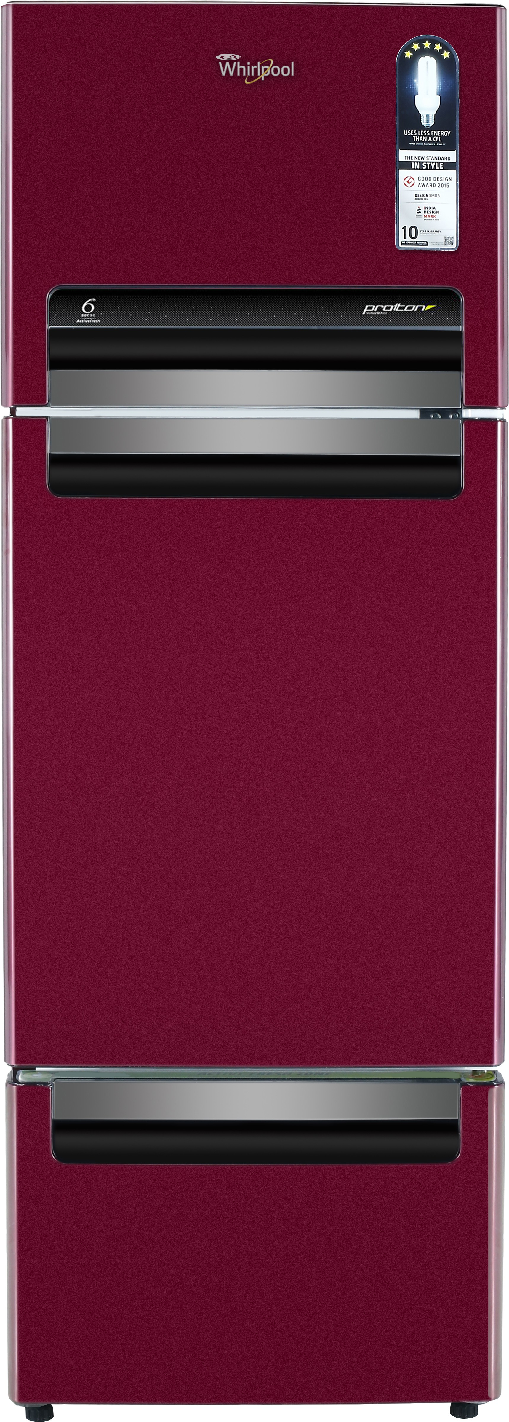 Whirlpool 240 L Frost Free Triple Door Refrigerator(FP 263D PROTTON ROY, Wine Alpha, 2017)