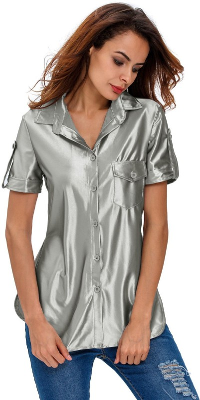 Kaamastra Women Solid Party Grey Shirt