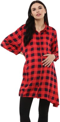 Wobbly Walk Women Checkered Party Red Shirt