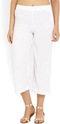 W Regular Fit Women's White Trousers at flipkart