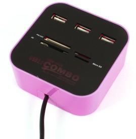 BB4 3 Port USB COMBO HUB Card Reader(Multicolor)