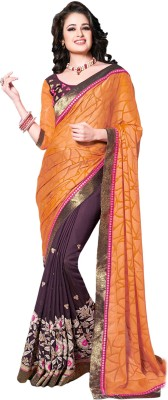 M.S.Retail Embroidered Bollywood Faux Georgette Saree(Orange) at flipkart