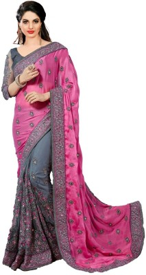 Pragati Fashion Hub Embroidered Bollywood Satin, Net Saree(Pink, Grey) at flipkart