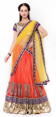 Divastri Embellished Bollywood Net Saree(Yellow) at flipkart