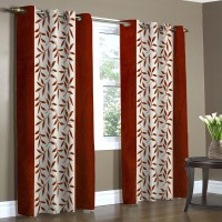 Home Candy Polyester Multicolor Checkered Eyelet Door Curtain(212 cms in Height, Pack of 2)