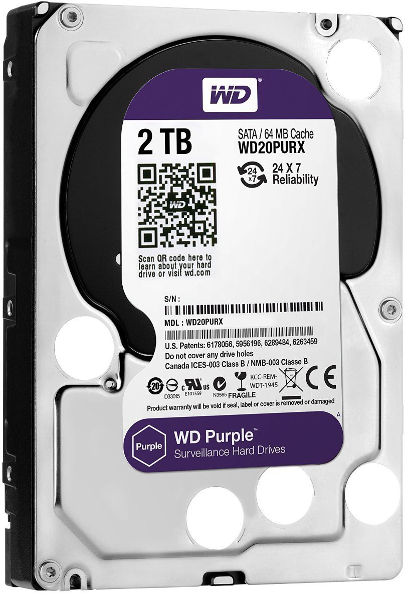 View Western Digital 64P6ZY0 2 TB Surveillance Systems Internal Hard Disk Drive (WD20PURX) Price Online(Western Digital)