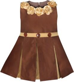 MKB Girls Midi/Knee Length Casual Dress(Brown, Sleeveless)