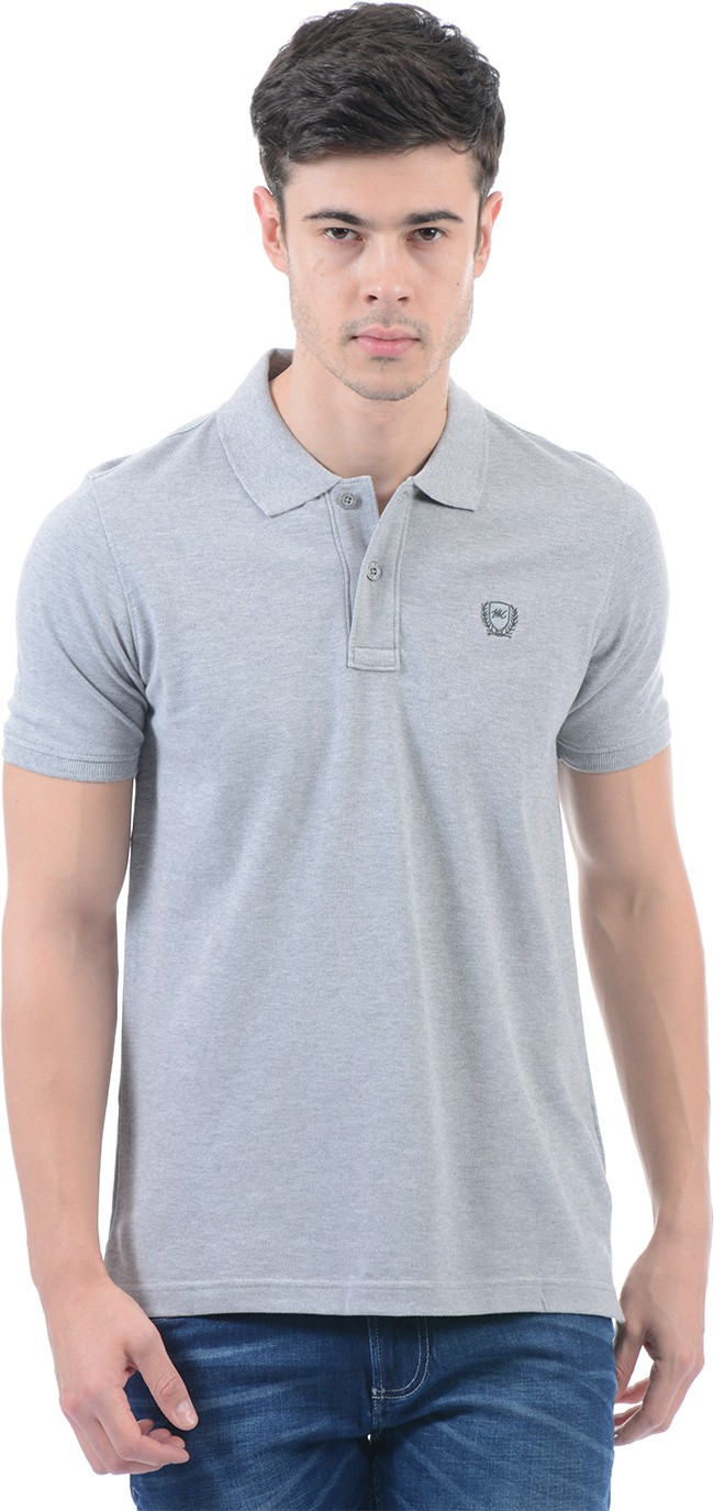 Monte Carlo Solid Men Polo Neck Grey T-Shirt Flipkart