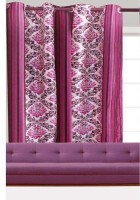 India Furnish Polyester Wine Floral Eyelet Door Curtain(213 cm in Height, Single Curtain)
