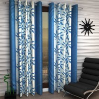 India Furnish Polyester Turqoise Printed Eyelet Door Curtain(210 cm in Height, Pack of 2)