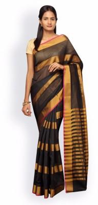 Pavechas Striped Banarasi Cotton, Silk Saree(Black, Yellow) at flipkart