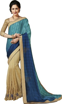 M.S.Retail Embroidered Bollywood Silk Saree(Blue) at flipkart