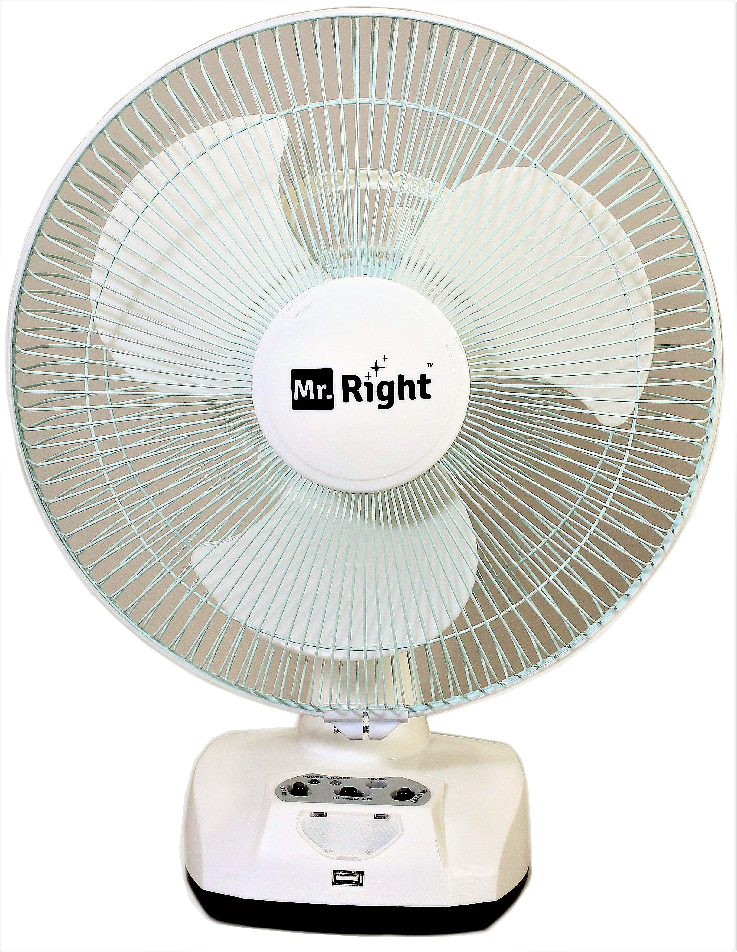 View Mr. Right MR-2912 AC/DC 12 Oscillating Rechargeable Wall Plus 3 Blade Table Fan(White)