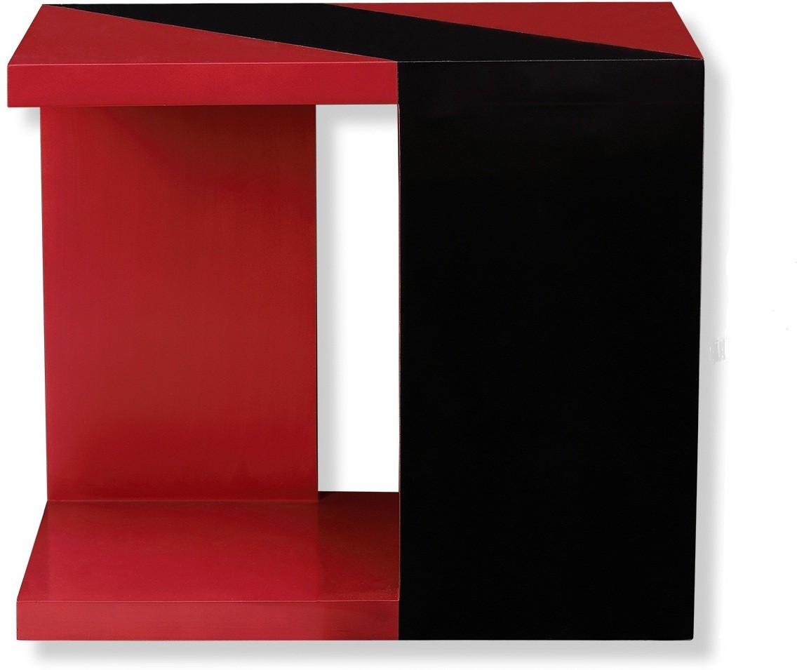 View NETWOOD DESIGNER Red & Black Solid Wood Corner Table(Finish Color - Red & Black Matte Finish) Furniture (Netwood Designer)