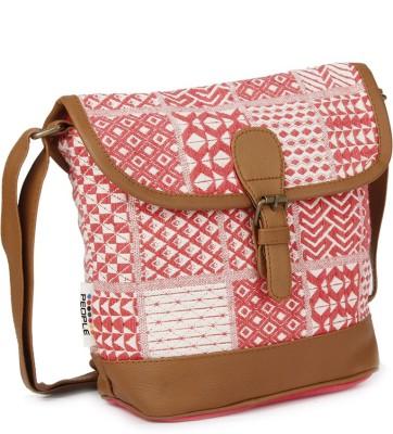 People Women Brown, White, Pink Canvas Sling Bag