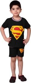 LANCE KIDS Boys Casual T-shirt Shorts(Black)